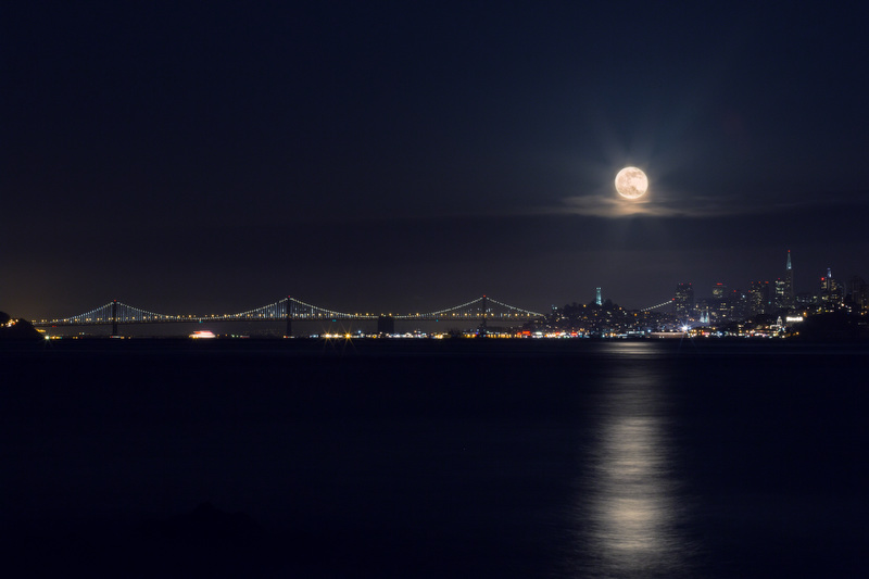 Bay Bridge, San Francisco Skyline,Full Moon