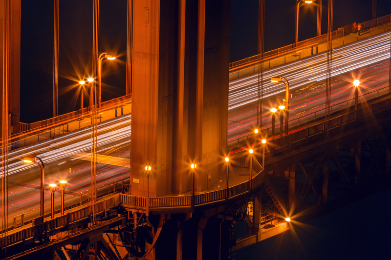 Golden Gate Bridge Traffic: Night